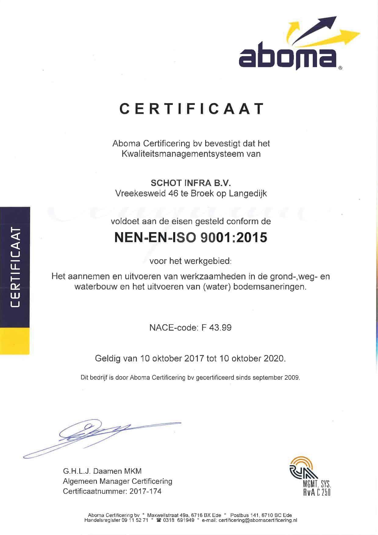 NEN-EN-ISO 9001 (2015) - vervaldatum 10-10-2020
